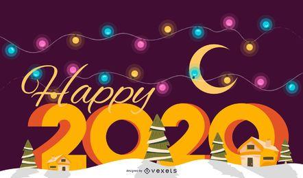 Vetor de banner feliz ano novo de 2020