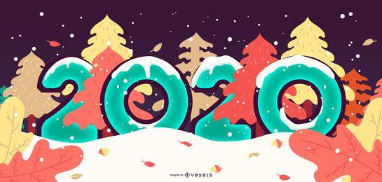 Diseño de banner nevado de año nuevo 2020