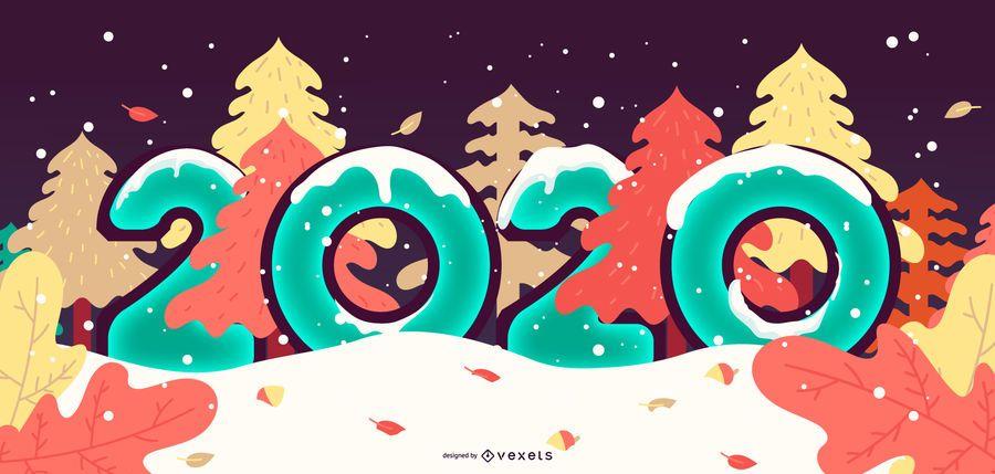New Year 2020 Snowy Banner Design