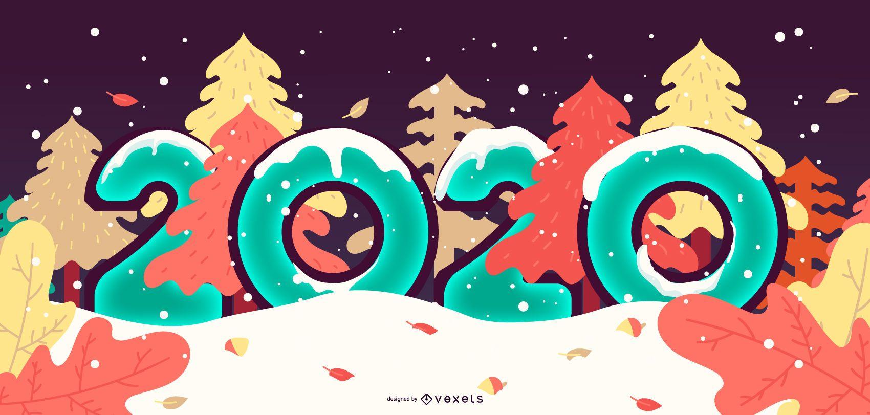 Design de banner com neve para o ano novo de 2020