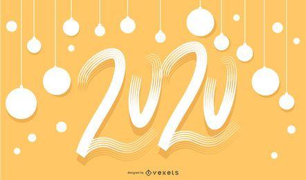 Banner de letras feliz mano 2020