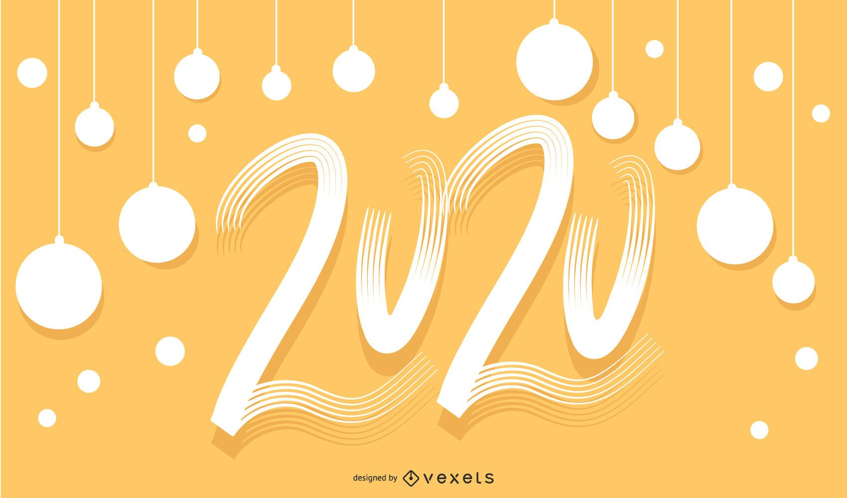 Banner de letras de mano feliz 2020