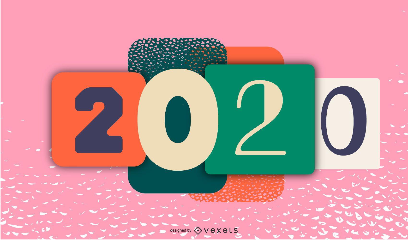 Happy 2020 Artistic Banner Design