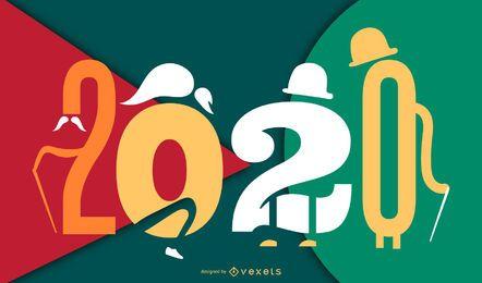 Ano novo 2020 personagem Banner Design