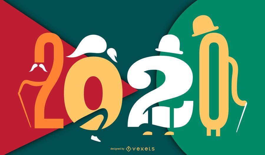 Diseño de banner de personaje de año nuevo 2020
