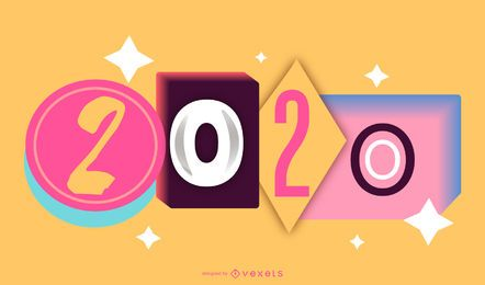 Happy 2020 90er Jahre Pop Banner Design