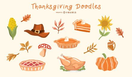 Thanksgiving Doodle Elements Vector Set
