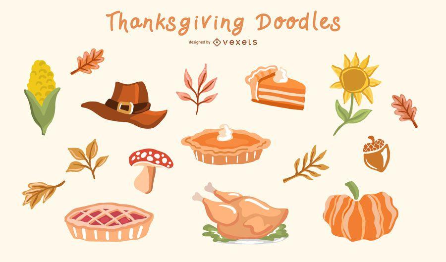 Thanksgiving Doodle Elements Vector Set