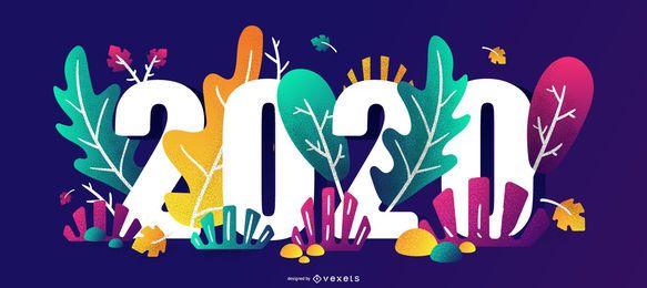 Feliz 2020 Floral Party Banner Design