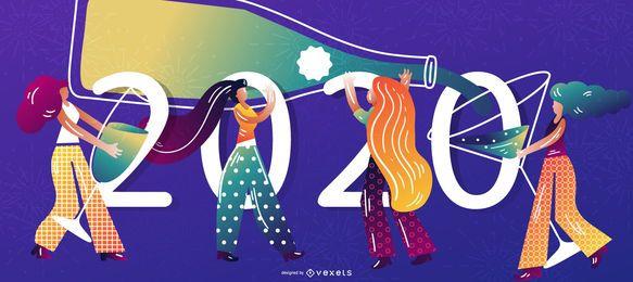 Feliz 2020 personagem Banner Design