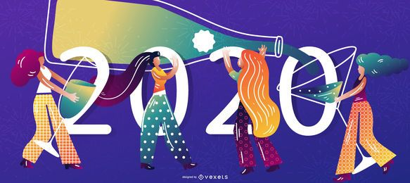 Happy 2020 Character Banner Design
