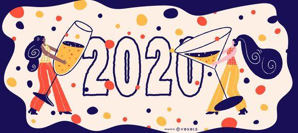 Feliz 2020 celebração Banner Design