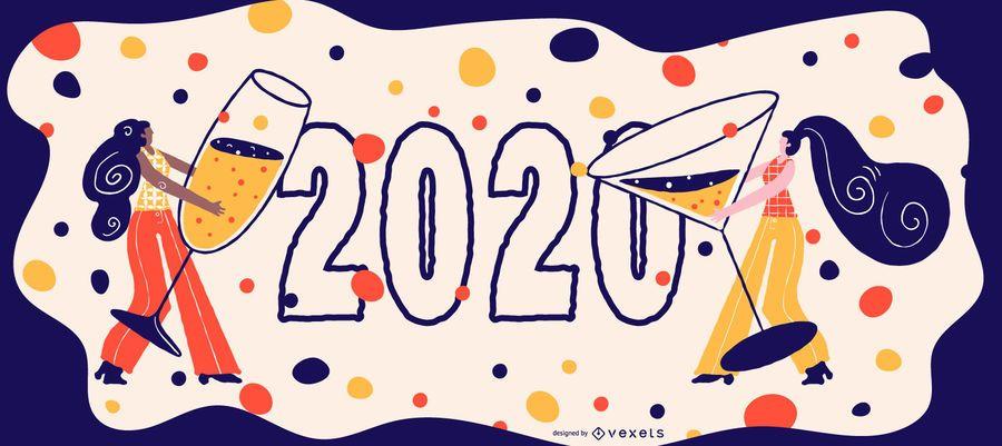 Happy 2020 Celebration Banner Design