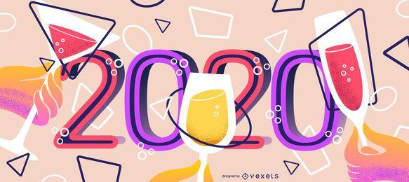 Banner geométrico do ano novo de 2020