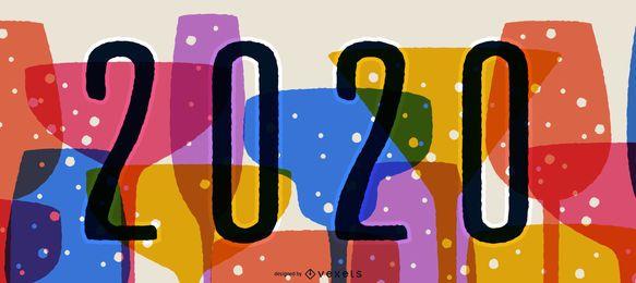 Feliz 2020 festa Banner Design