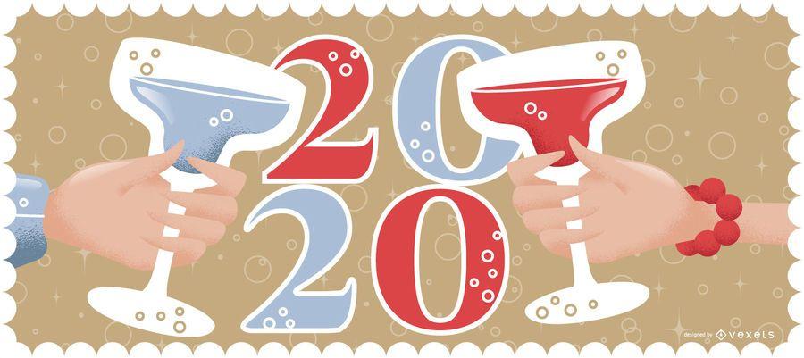 Happy 2020 Cheer Banner Design