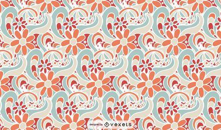 Diseño de patrón retro floral
