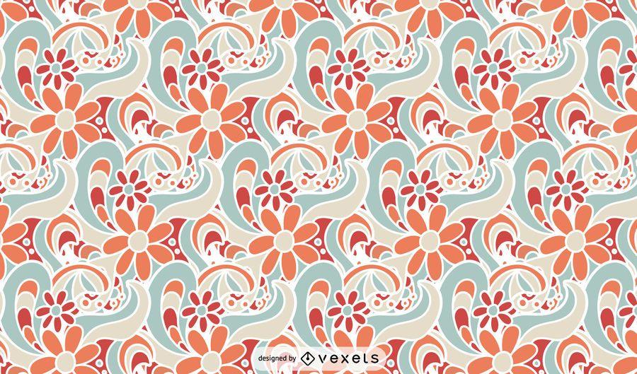 Design retro padrão floral