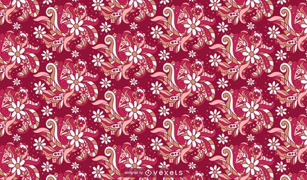 Retro Ornamental Flower Pattern Design