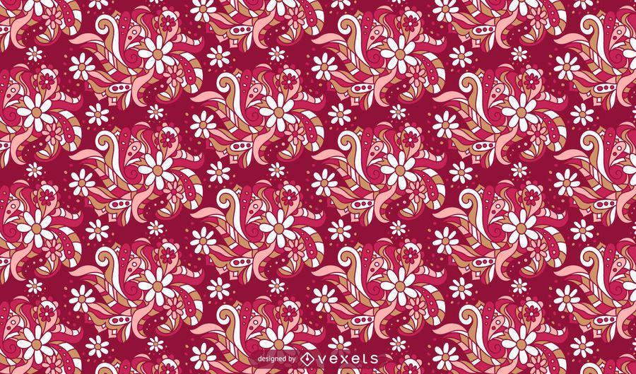Diseño de patrón de flores ornamentales retro