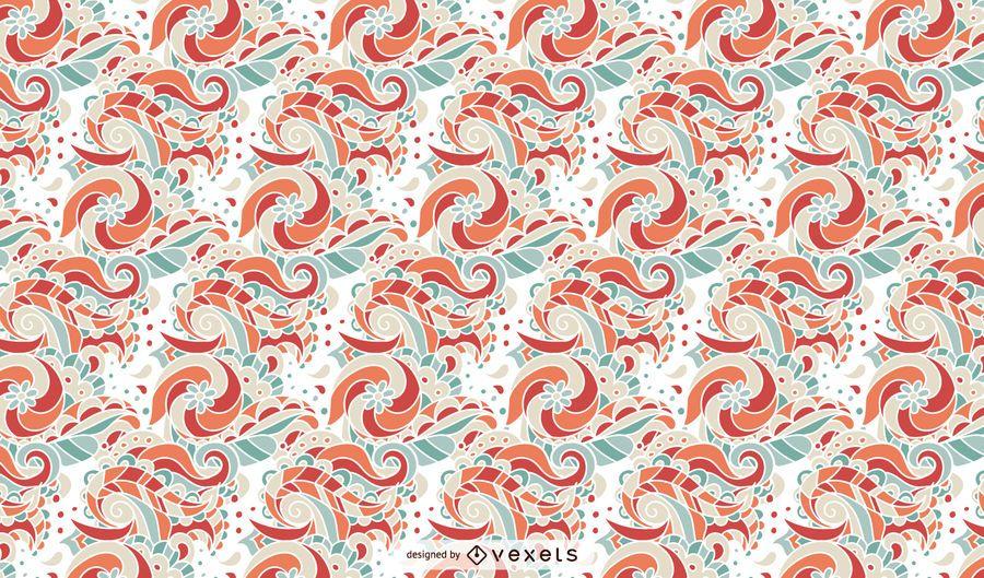 Diseño de patrón de ornamento floral retro