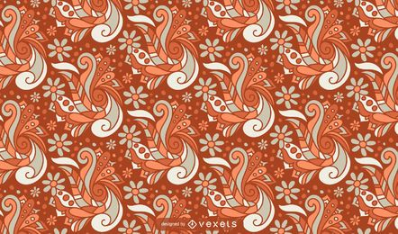 Retro floral abstract pattern