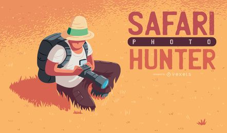 Safari photo hunter illustration