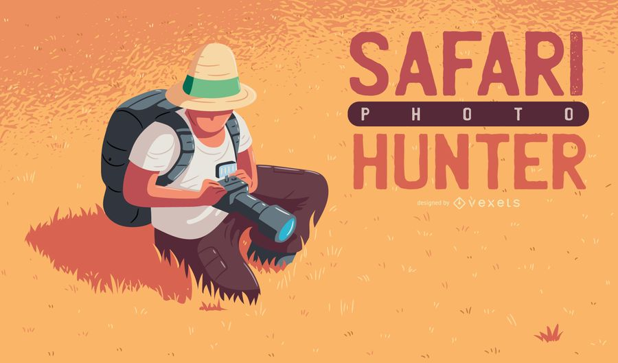 Ilustración de cazador de fotos de safari