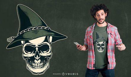 Diseño de camiseta de calavera de sombrero