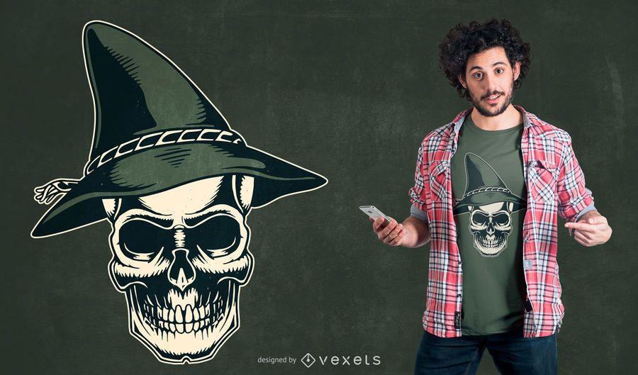 Design de t-shirt de caveira de chapéu