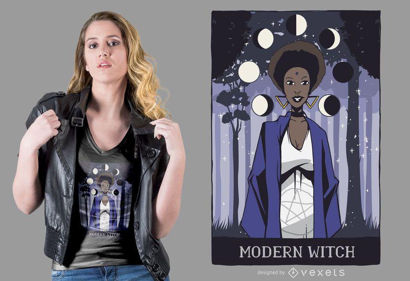 Diseño moderno de camiseta de bruja
