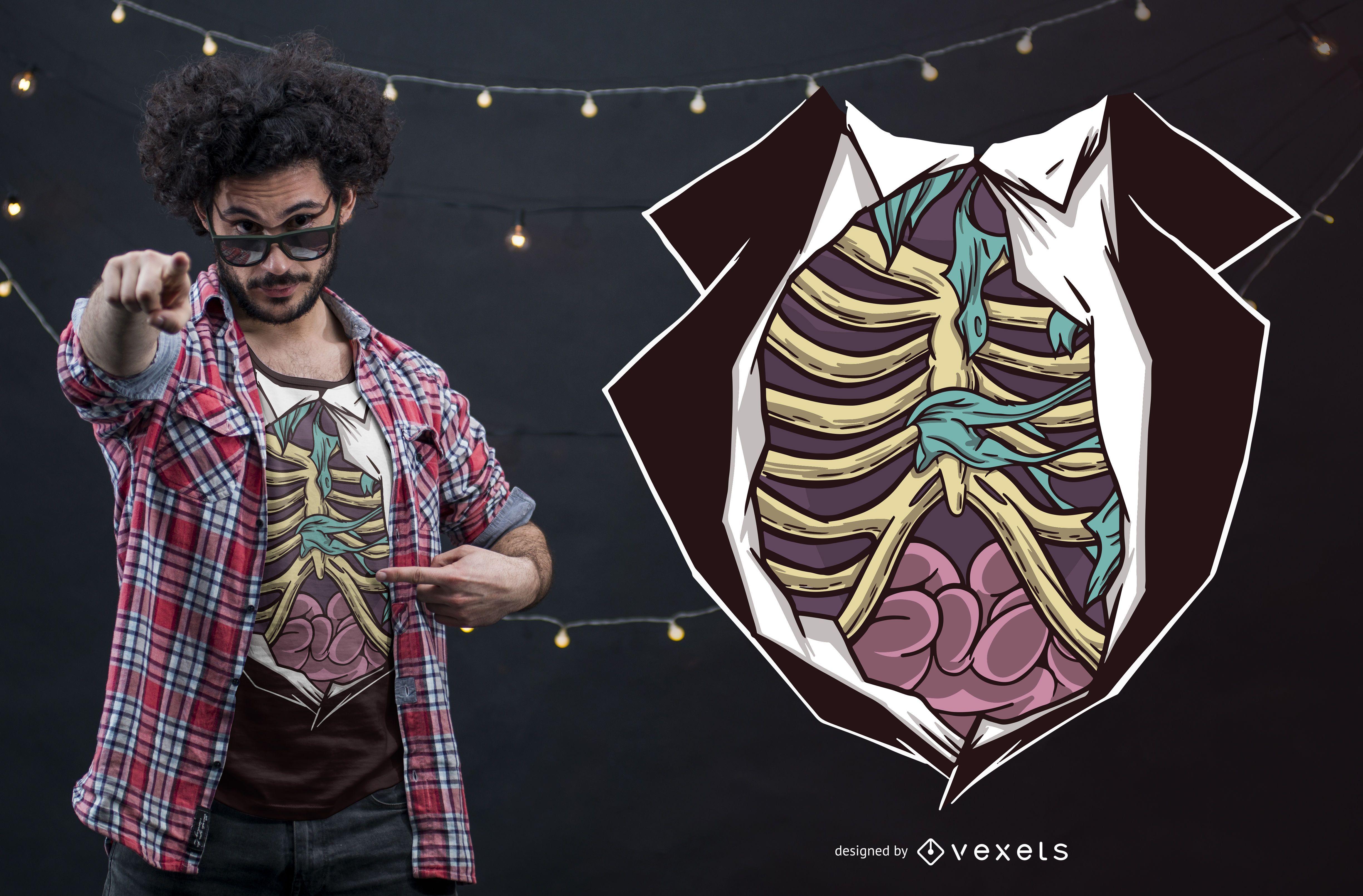 Diseño divertido de la camiseta del cuerpo del zombi de Halloween