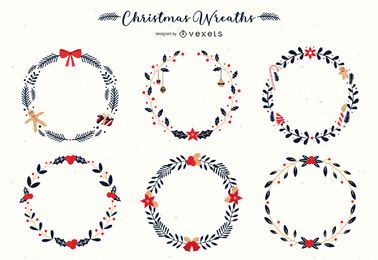 Christmas wreaths vector set