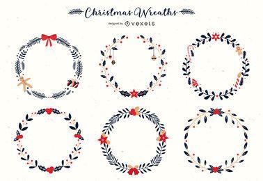 Conjunto de vectores de coronas de Navidad