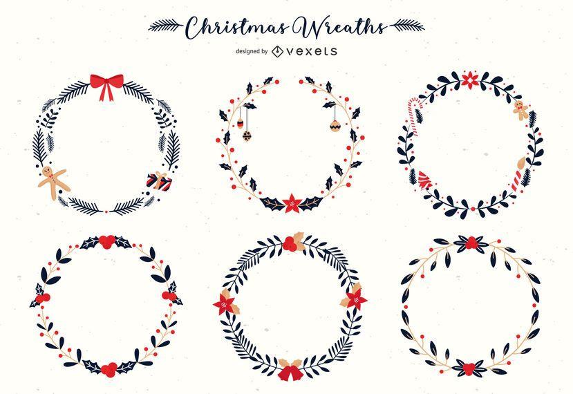 Conjunto de vetores de grinaldas de Natal