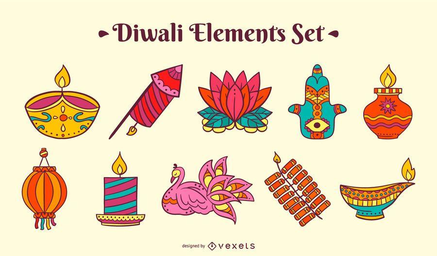 Diwali colorful elements set