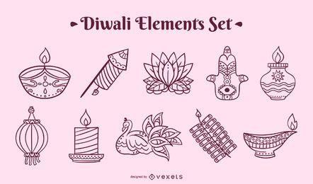 Conjunto de elementos de trazo de Diwali