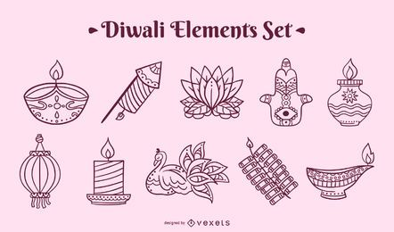 Diwali stroke elements set