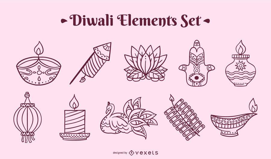 Diwali stroke elements set