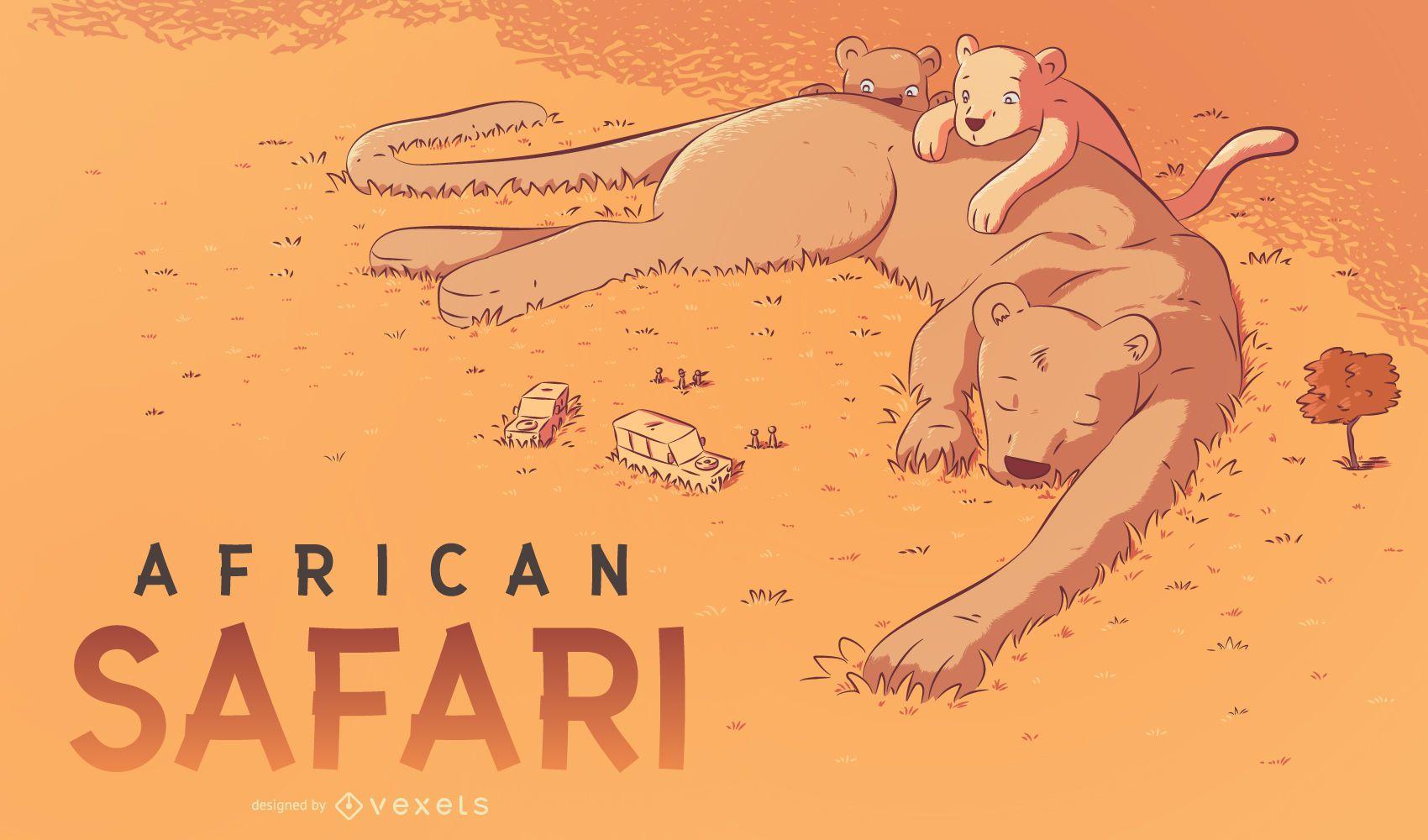 Ilustración de safari africano