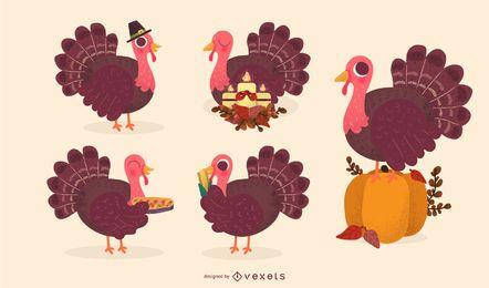 Thanksgiving-Truthahn Vektor festgelegt