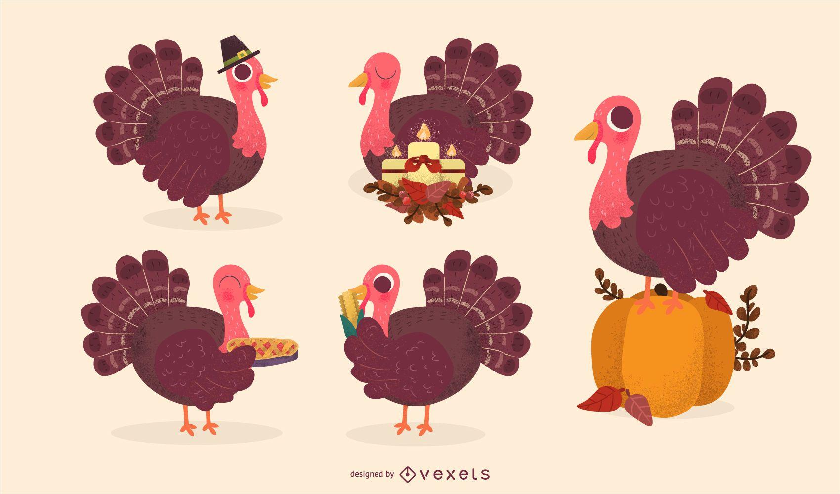 Thanksgiving turkey vector set