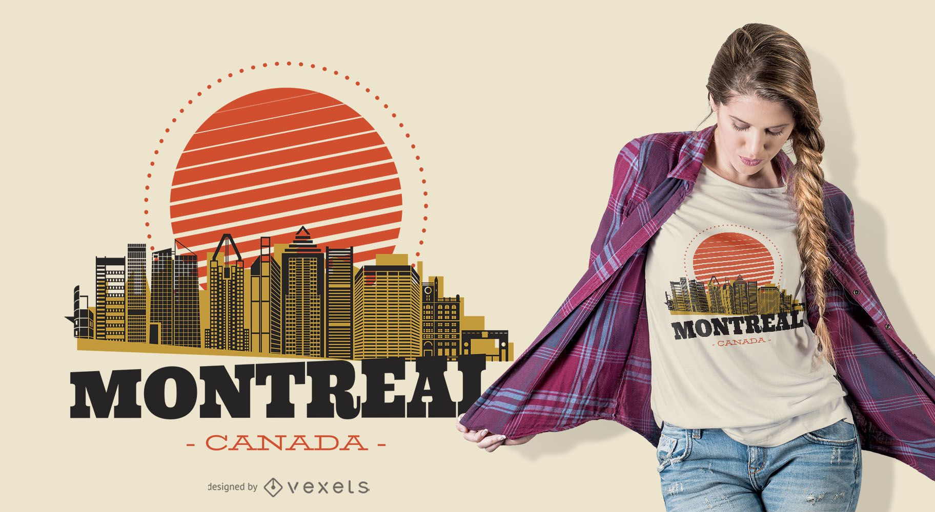 Diseño de camiseta Montreal Skyline