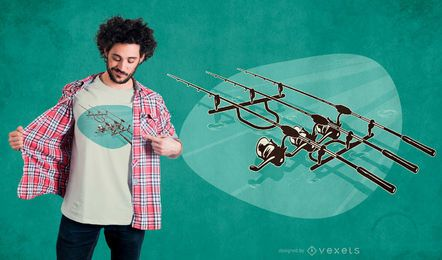 Diseño de camiseta de cañas de pescar
