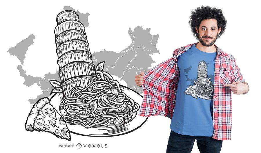 Diseño de camiseta de la torre de Pisa y comida