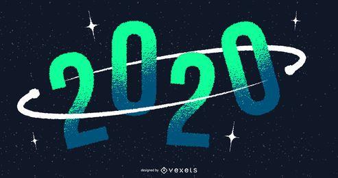 Diseño de banner espacial de año nuevo 2020