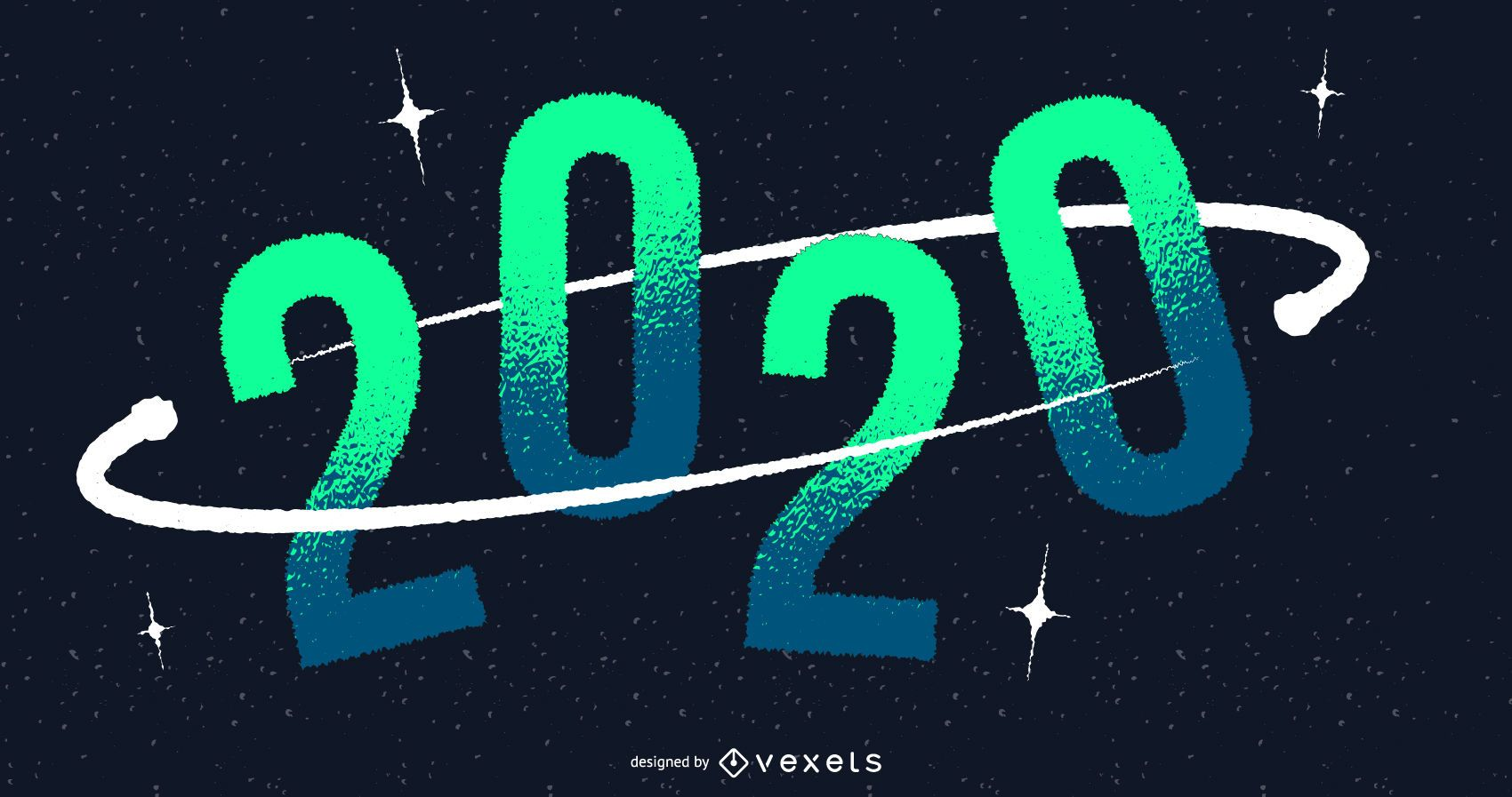 Design do banner espacial para o ano novo de 2020