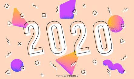Banner de diseño de Memphis de año nuevo 2020