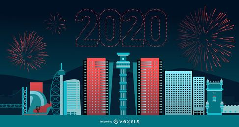 Happy 2020 Lisbon Skyline Banner Design