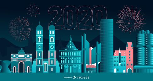 Happy 2020 Munich Skyline Banner Design